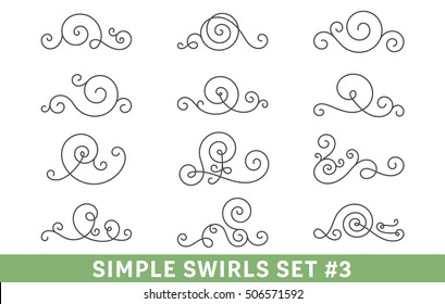 Set of elegant vector swirls. Cool design elements collection, good for page decoration. Antique dividers, frame elements, ornate scrolls.