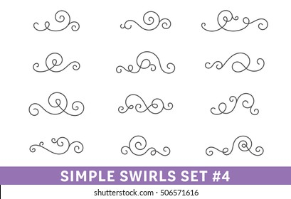 Set of elegant vector swirls. Cool design elements collection, good for page decoration. Antique dividers, frame elements, ornate scrolls.
