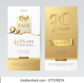 Set of elegant vertical banners with paper shopping bag, golden bow and ribbons. Vector templates for promotion design on the website with gold and white background. Isolated from the background.