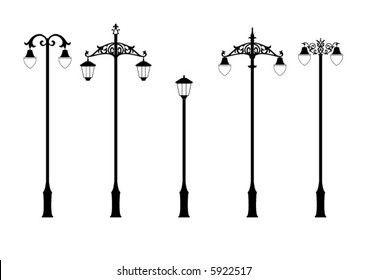 set of elegant victorian style street lamps in vector format