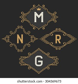 The set of elegant vintage monogram emblem and logo templates. Stylish retro business sign, identity, label for hotel, cafe, boutique, jewelry. Stock vector.