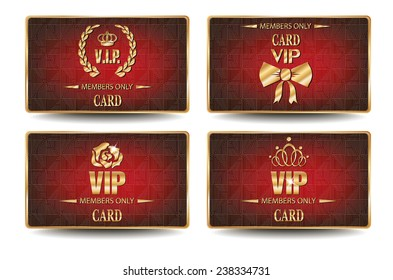 Set of elegant VIP cards with geometric textured red background