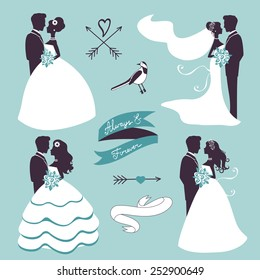 Set of elegant wedding couples in silhouette, ribbons and other graphic elements
