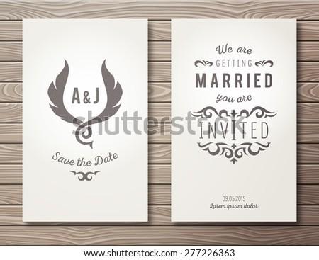 set elegant wedding invitations templates on stock vector royalty