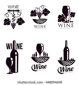 Set of elegant wine logo templates, vector illustration isolated on white background. Vintage style wine badges and labels. Black and white logo templates for your design
