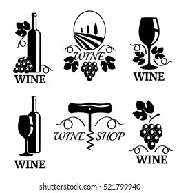 Set of elegant wine logo templates, vector illustration isolated on white background. Vintage style wine badges and labels. Black and white logo templates, wine and grapes, wine glass, wine bottle