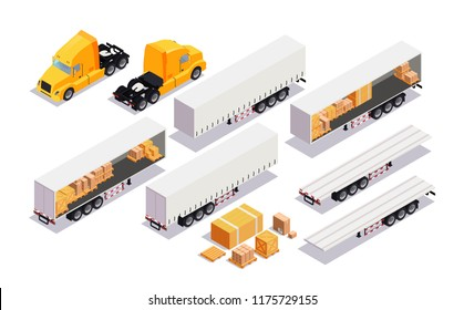Set element cargo transport. Flat 3d isometric high quality city transport. cargo truck, trailer