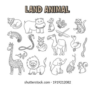 set of element doodle line land animal. Coloring hand drawn page with cute savannah animals vector