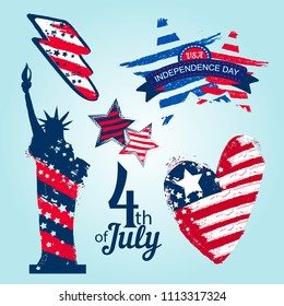 Set of elements for 4th of July Independence day. badges with American flag ornament inside of shape Statue of Liberty, grungy heart, stars, lightning. Shabby grungy brush track