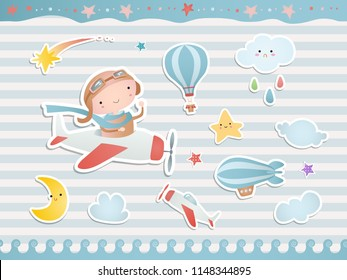 Set of elements for baby shower design with a pilot, a plane, balloons. Paper, scrapbook.