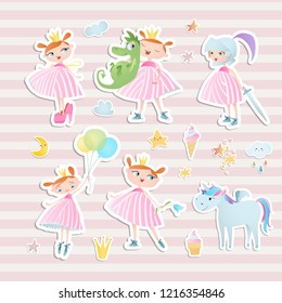 Set of elements for baby shower design with a princess and a unicorn. Paper, scrapbook.