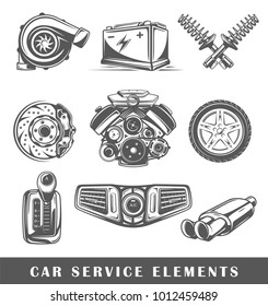 Set of elements of the car service isolated on white background. Symbols for car service design logos and emblems. Vector illustration