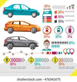 Set of elements for cars and traffic infographic. Good for illustrate city traffic and cars statistic
