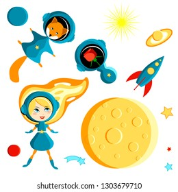 Set of elements for children - a girl, a fox and a rose in space. Moon, Sun, Saturn, Earth, other planets, rocket. Stars, comets. Cartoon style
