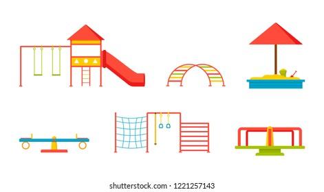 Set of elements for children playground. Swings, slide, sandbox, ladders, seesaw, carousel. Outdoor equipment for kindergarten. Flat vector illustrations isolated on white background.