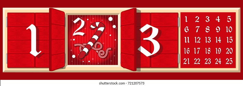 Set of elements Christmas advent holiday calendar banner. Closed and open woods doors with large digits numbers on the facade, symbols of each day of Advent. Cartoon style. Vector illustration