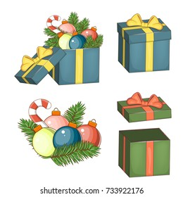 Set of elements for Christmas and new year. Open gift box with bow, Christmas ball and fir tree isolated on white. Vector illustration eps 10.