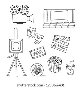 Set with elements of cinema production on a white background.
