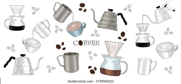 Set of elements for coffee brewing in graphic style hand-drawn vector illustration. Cup of coffee, pour over, jug, coffee beans