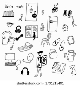 a set of elements consisting of things for the house, a chair, a computer, a refrigerator, drawn by hand, without a background