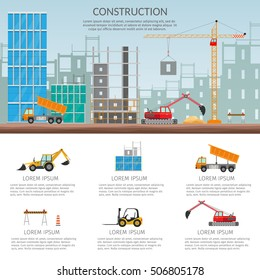 Set elements construction Concept of process construction building a house vector set isolated illustration background infographics