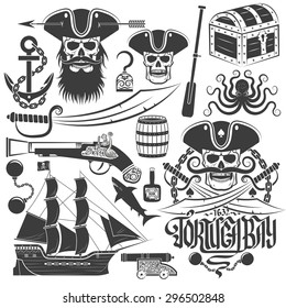 Set of elements for creating pirate logo or tattoo. Skull emblem. Tricorn, anchor, saber, old gun, barrel, chest, ship, octopus and more.