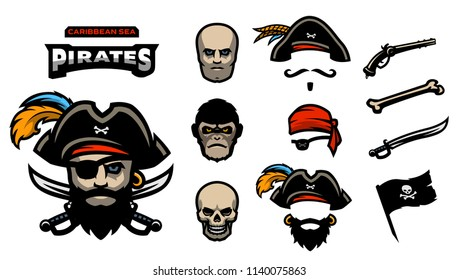 A set of elements for creating pirated logos. Man, monkey and skull. Hats, bandana, mustache, beard. Pistols, bones, sabers and a pirate flag.