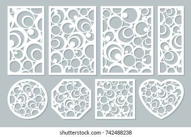 set elements decorative design. geometric ornament pattern. map for laser cutting. circular pattern. Vector illustration.