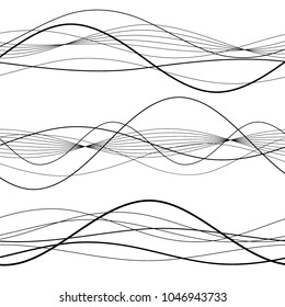 Set Elements design Abstract Broken stripes on white background isolated. Curved wave streak for decor figuration brochure, booklet, poster. Creative art wavy lines theme. Vector illustration eps 10