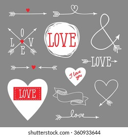 set of elements for design - arrows, hearts, love