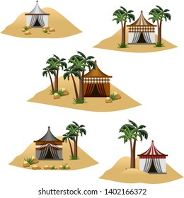 Set of elements to design desert landscape scenes or background. Nomad camp in desert, tents in sand dunes with palms. Cartoon or game asset. Isolated elements, Vector illustration