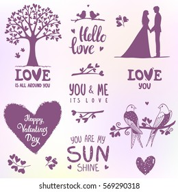 Set of elements for design on Valentines Day or wedding. Beautiful romantic silhouette. Vector illustration