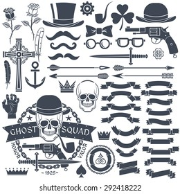 d1502582 Set of elements for design retro emblem. Logo with a skull wearing a hat  with