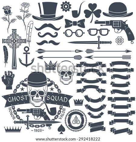 78f21205 Set of elements for design retro emblem. Logo with a skull wearing a hat  with a pistol and a dagger. Gangster tattoo. - Vector