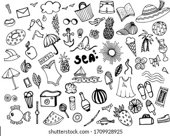 A set of elements drawn manually using a liner. Vector illustration. Summer set of women's clothing, shoes. Everything for rest and relaxation. Sun, sea, fruit, food, drinks.