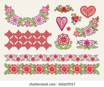 Set elements embroidery, applique lace with flowers and leaves, crocheted hearts, handmade, made with love