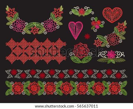 Set elements embroidery applique lace flowers stock vector