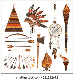 Set elements ethnic style. Dream Catcher. Isolated arrows, feathers, beads, wigwam, onions, fire, tomahawk, torch . The concept for the design. Vector illustration