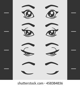 Set of Elements of Female Eye Blink