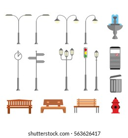 Set of elements in a flat design style to the streets or park. Vector, illustration EPS10.