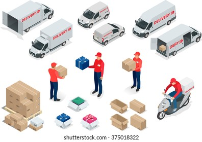 Set elements Free, Express, Home or Fast delivery for design. Van, man  and cardboard boxes with fragile signs. Product goods shipping transport. Fast service truck.