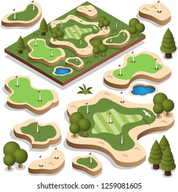 Set of elements for a golf course. Isometric. Vector illustration.