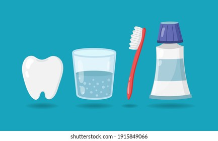 Set of elements for healthy teeth. Tooth, glass of water, toothbrush, toothpaste isolated on blue background. Vector illustration