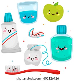 Set of elements for healthy teeth; toothbrush, toothpaste, dental mouthwash, dental floss,  glass of water, apple, cartoon characters, oral dental hygiene, vector.