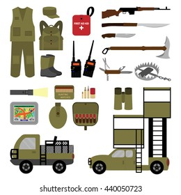 A set of elements for hunting in flat style. Vector illustration. Set for infographics. Isolated objects on hunting in the flat style. - EPS10