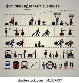 Set of elements for infographic about immigration / refugees.