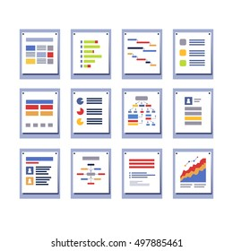 Set of elements for infographic design. Diagrams, charts, pages, and graphs sample layouts in frames on the wall. Modern colorful flat style vector illustration isolated on white background.