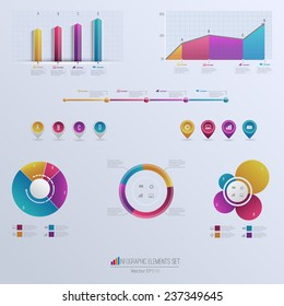 Set elements of infographics. Can be used for work flow layout,presentation , diagram, graph, timeline, chart, business step options. Vector illustration EPS10