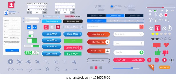 Set of elements for the interface. Universal UI/UX kit for app or web. Constructor for interfaces design. Colorful navigation long web button. Interface buttons. Web UI elements for browsers. Vector