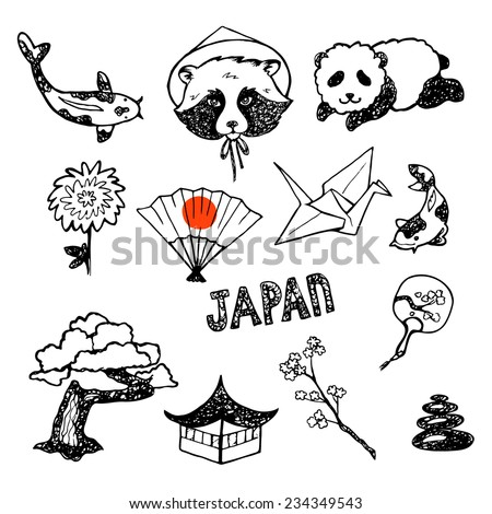 The Set Of Elements Of Japanese Culture Hand Drawn Vector Icons Collection